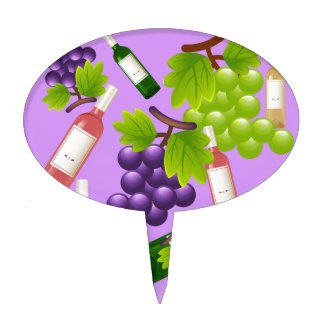 Wine and Grapes Cake Topper