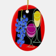 Wine and Grapes Ceramic Ornament