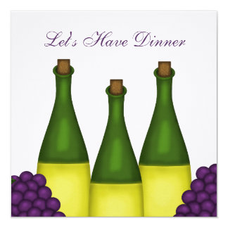Wine and Grapes Dinner Party Invitation