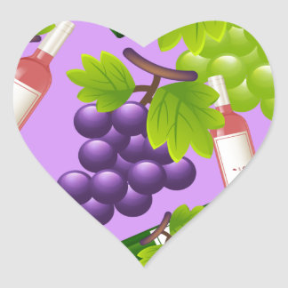Wine and Grapes Heart Sticker