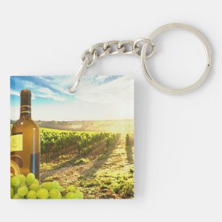 Wine and Grapes in a Tuscan Vineyard Keychain
