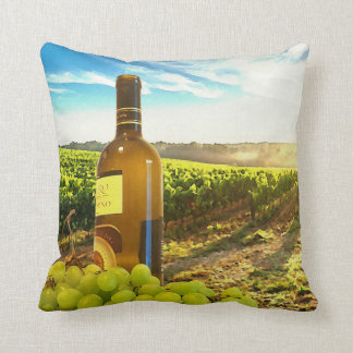 Wine and Grapes in a Tuscan Vineyard Throw Pillow