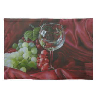 Wine and grapes placemat cloth placemat