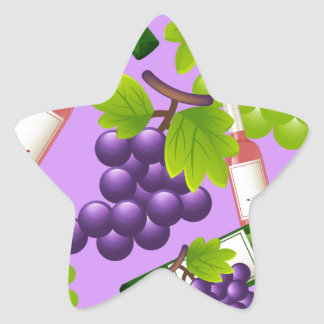 Wine and Grapes Star Sticker