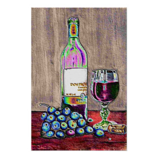 Wine and grapes Still-life in Print
