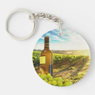Wine and Grapes Vineyard Scene Keychain