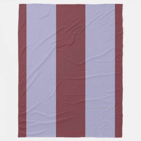 Wine and Gray-Blue Vertically-Striped Fleece Blanket