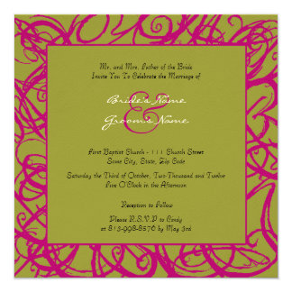 Wine and Green Sketchy Frame Wedding Invitation