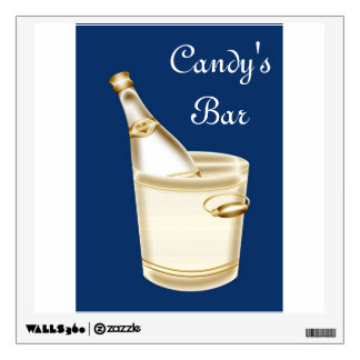 Wine and ice bucket add a name or text wall sticker