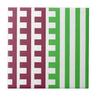 Wine and Lime Combs Tooth Tile