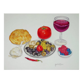 Wine and Olives Poster