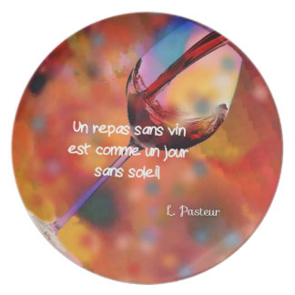 Wine and quote melamine plate