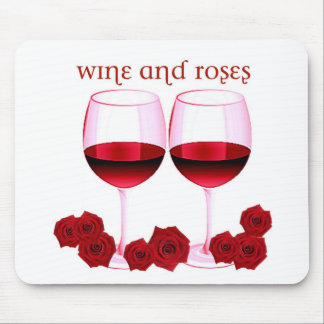 """WINE AND ROSES"" RED WINE AND ROSES PRINT MOUSE PAD"