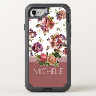 Wine and Roses with Name OtterBox Defender iPhone 8/7 Case