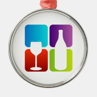 wine and spirits graphic round metal christmas ornament