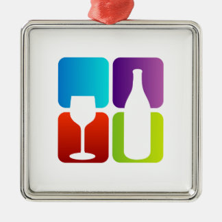 wine and spirits graphic square metal christmas ornament