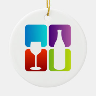 wine and spirits graphic Double-Sided ceramic round christmas ornament