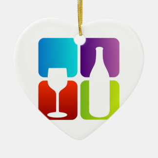 wine and spirits graphic Double-Sided heart ceramic christmas ornament