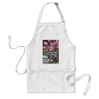 wine and tulips adult apron