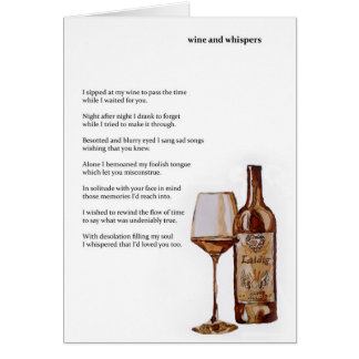 Wine and whispers card with poem