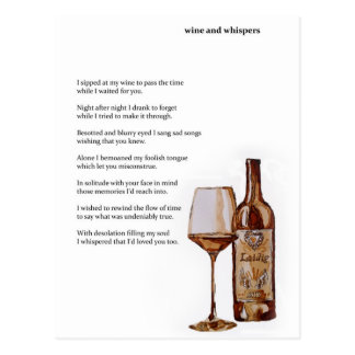 Wine and whispers coffee art and poem postcard