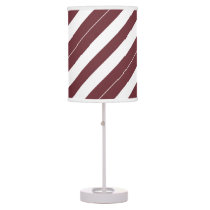 Wine and White Diagonally-Striped Desk Lamps