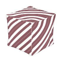 Wine and White Diagonally-Striped Outdoor Pouf