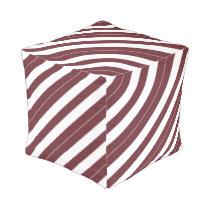 Wine and White Diagonally-Striped Pouf