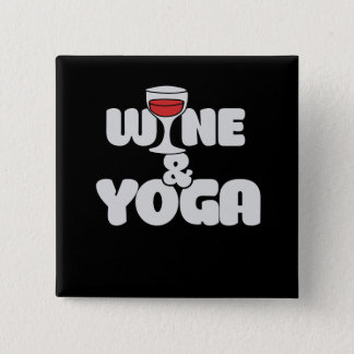 wine and yoga pinback button