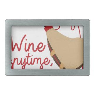 Wine Anytime Rectangular Belt Buckle
