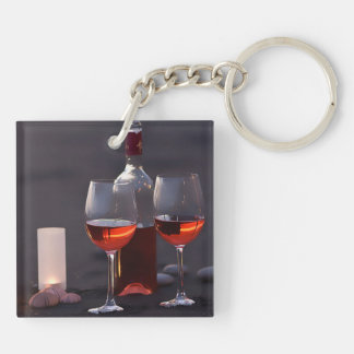 wine at the beach keychain