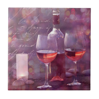 Wine at the beach tile