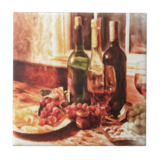 Wine At The Table by Shawna Mac Ceramic Tile