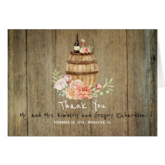 Wine Barrel and Pink Blush Floral Rustic Thank You