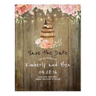 Wine Barrel and Pink Flowers Rustic Save the Date Postcard