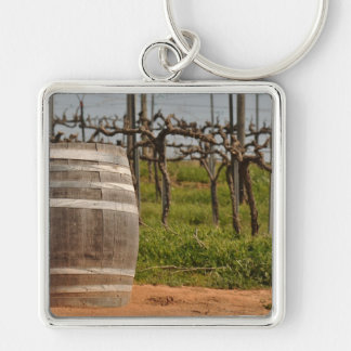 Wine Barrel and Vineyard in the Spring Keychain