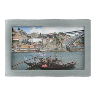 Wine barrel boats, Porto, Portugal Rectangular Belt Buckle