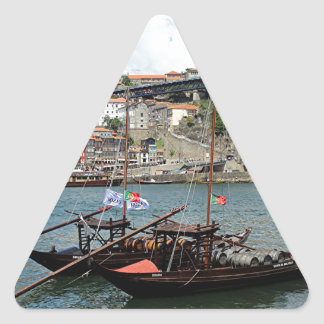 Wine barrel boats, Porto, Portugal Triangle Sticker