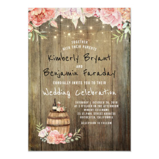 Wine Barrel Boho Rustic Barn String Lights Wedding Card