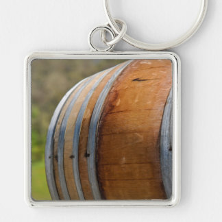 Wine Barrel Close Up with Vineyard in Background Keychain