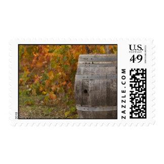 Wine Barrel in Autumn Fall Postage