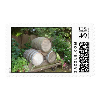 Wine barrel postage stamps for invitations