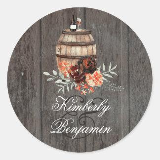 Wine Barrel Rustic Burgundy Flowers Wedding Classic Round Sticker