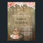 """Wine Barrel Rustic String Lights Bridal Shower Card<br><div class=""""desc"""">Wine tasting - wine barrel and country chic blush and pink watercolor flowers rustic vineyard / winery bridal shower invitations</div>"""