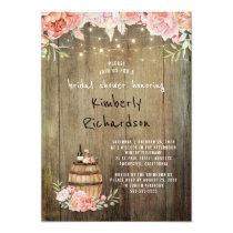 Wine Barrel Rustic String Lights Bridal Shower Card