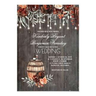 Wine Barrel Rustic String Lights Burgundy Wedding Invitation