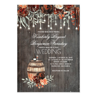 Wine Barrel Rustic String Lights Burgundy Wedding Invitation