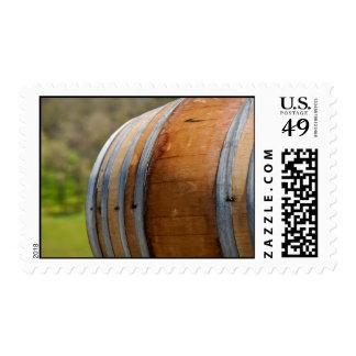 Wine Barrel used to Store Vintage Wine Stamp
