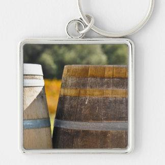 Wine Barrels in Autumn Grape Vineyard Keychain