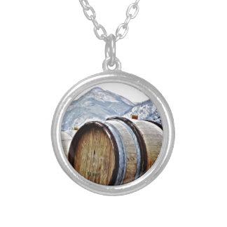 Wine Barrels in British Columbia Round Pendant Necklace